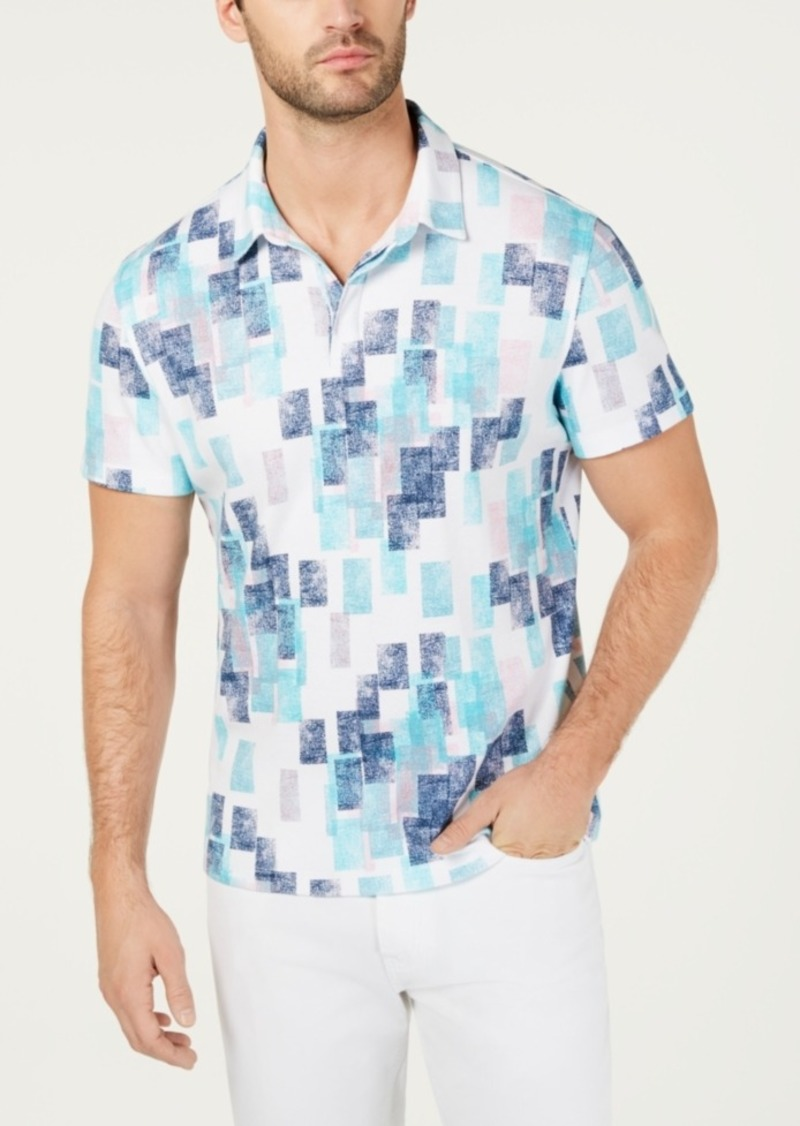 Alfani Men's Colorblocked Distressed Polo, Created for Macy's