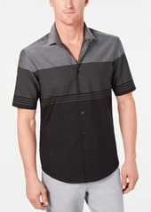 Alfani Men's Colorblocked Textured-Stripe Shirt, Created for Macy's