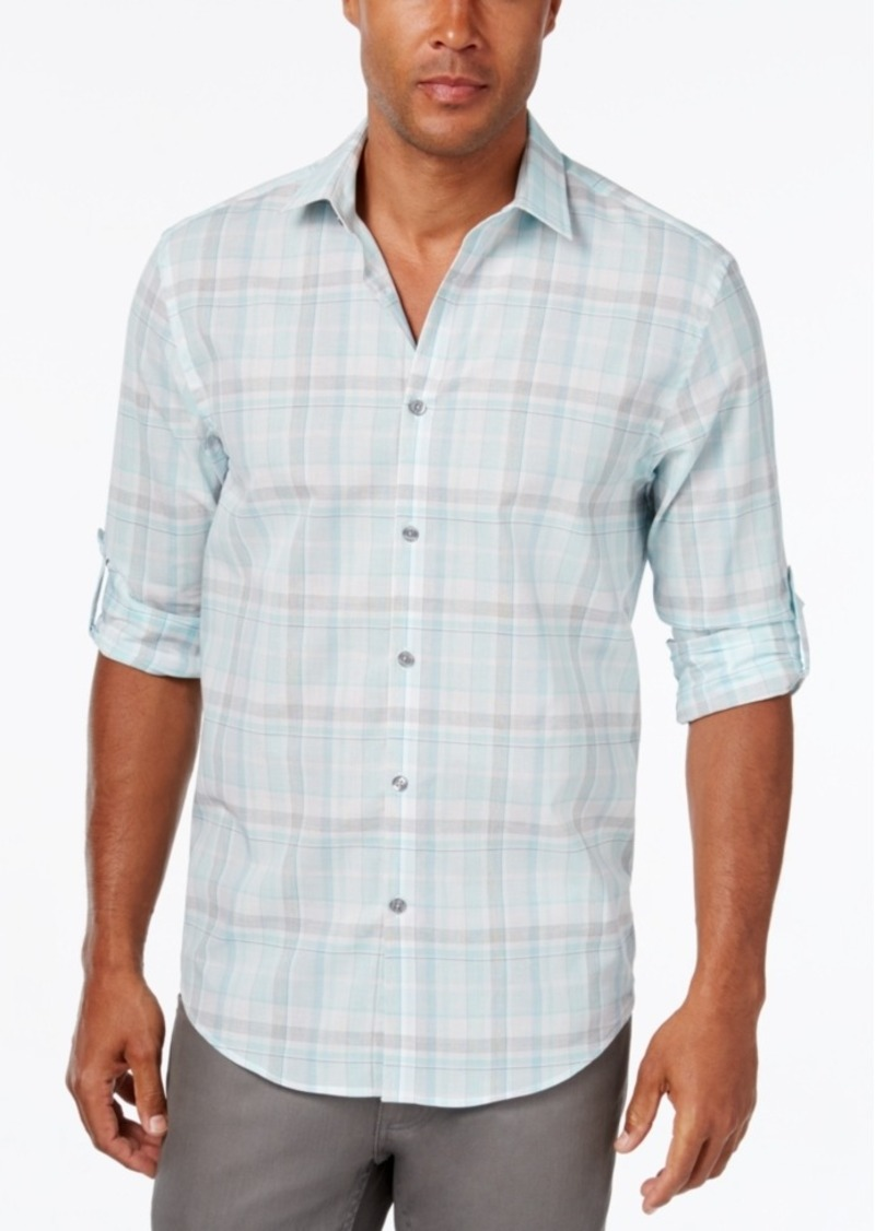 Alfani Men's Big & Tall Classic-Fit Plaid Long-Sleeve Shirt, Only at Macy's