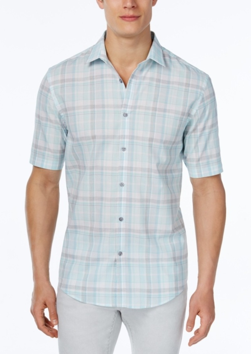 Alfani Men's Big & Tall Classic-Fit Plaid Short-Sleeve Shirt, Only at Macy's