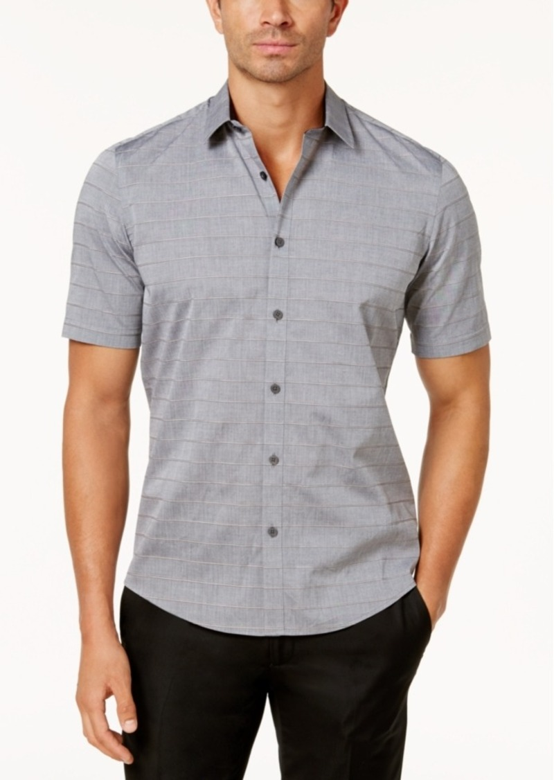 Alfani Men's Corded Stripe Short-Sleeve Shirt, Created for Macy's