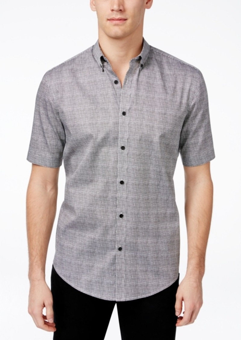 Alfani Men's Big & Tall Grid-Pattern Short-Sleeve Shirt, Only at Macy's
