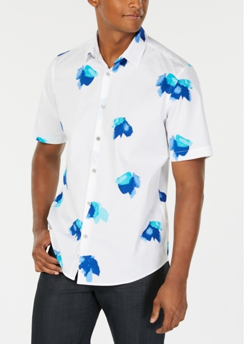 Alfani Men's Stretch Floral-Print Shirt, Created for Macy's