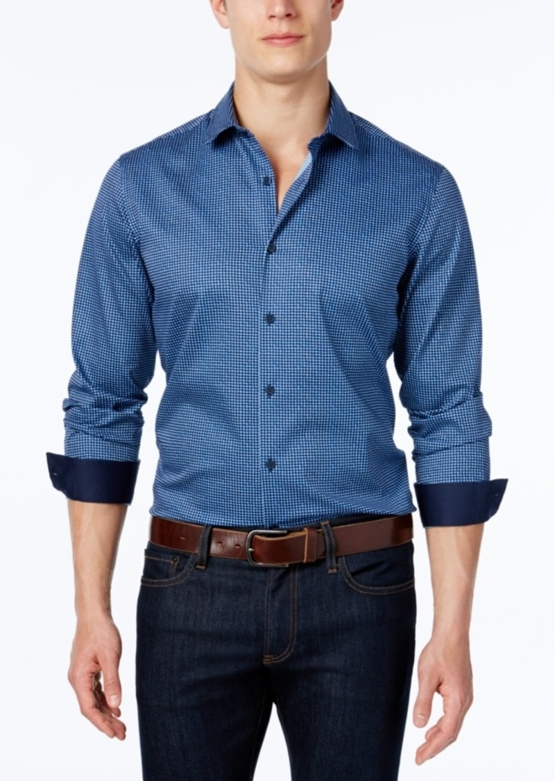 Alfani Men's Geo-Dot Pattern Long-Sleeve Shirt, Slim Fit