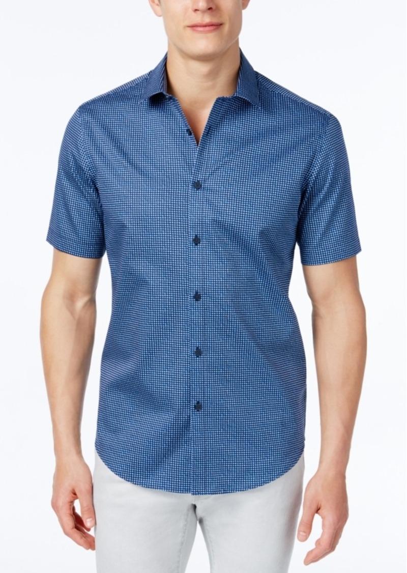 Alfani Men's Geo Short-Sleeve Shirt, Slim Fit