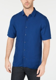 Alfani Men's Lagoon Stretch Linen Blend Shirt, Created for Macy's