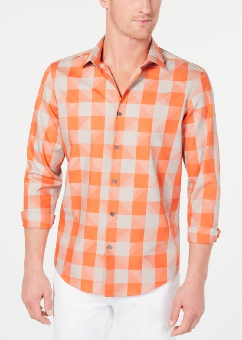 Alfani Men's Large-Check Swoosh Shirt, Created for Macy's