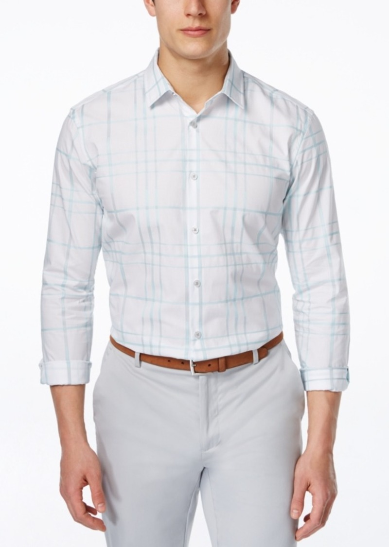 Alfani Men's Large-Grid Long-Sleeve Shirt, Only at Macy's