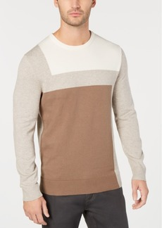 Alfani Men's Lightweight Colorblocked Knit Sweater, Regular Fit, Created for Macy's