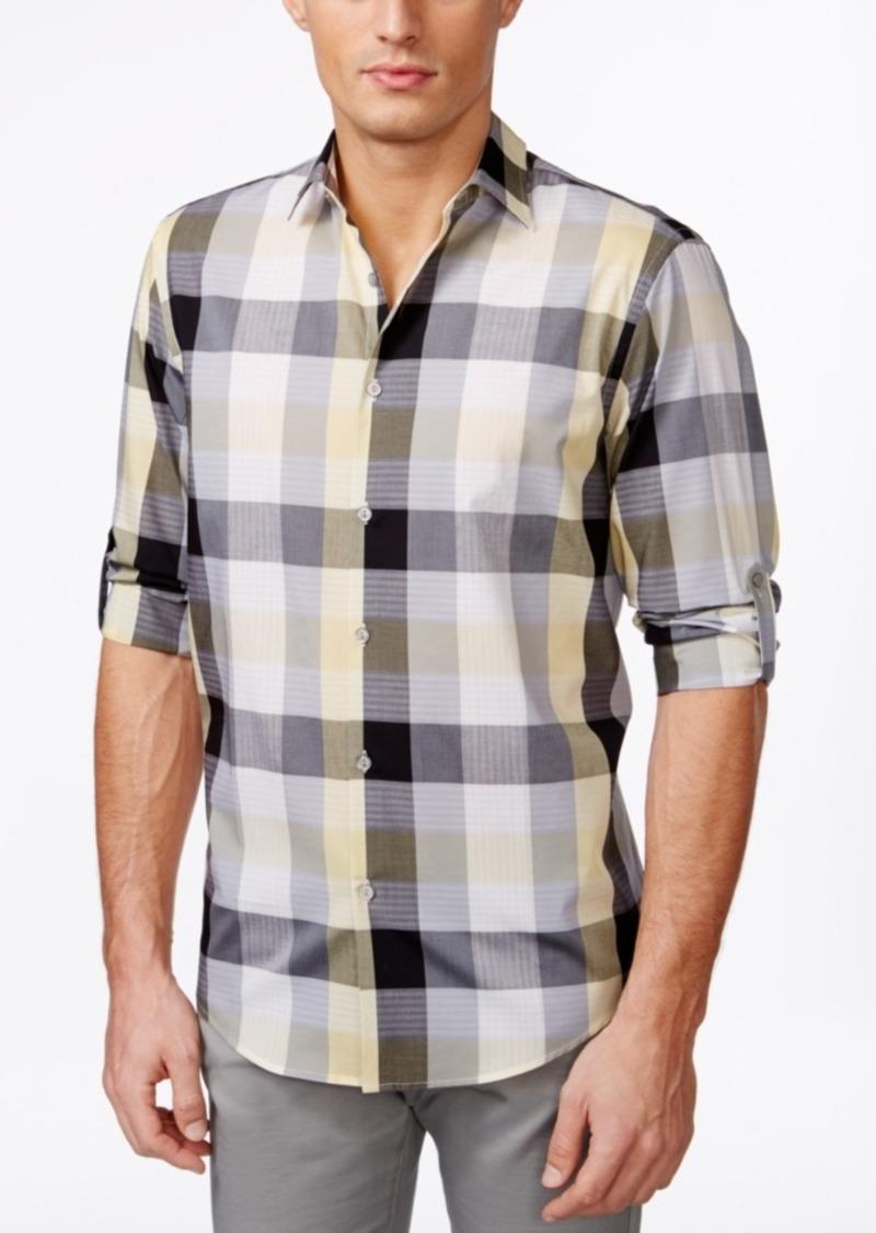 Alfani Men's Long Sleeve Mason Twilight Plaid Shirt, Only at Macy's