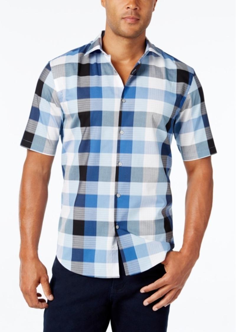 Alfani Men's Mason Lightweight Plaid Short-Sleeve Shirt, Only at Macy's