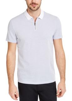 Alfani Men's Micro Jacquard Zipper Polo Shirt, Created for Macy's
