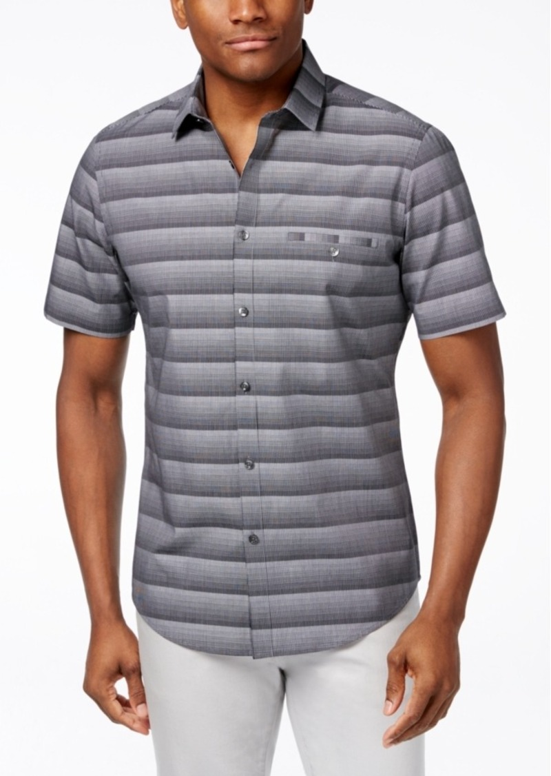 Alfani Men's Big & Tall Bourne Ombre Optic Stripe Short-Sleeve Shirt, Only at Macy's