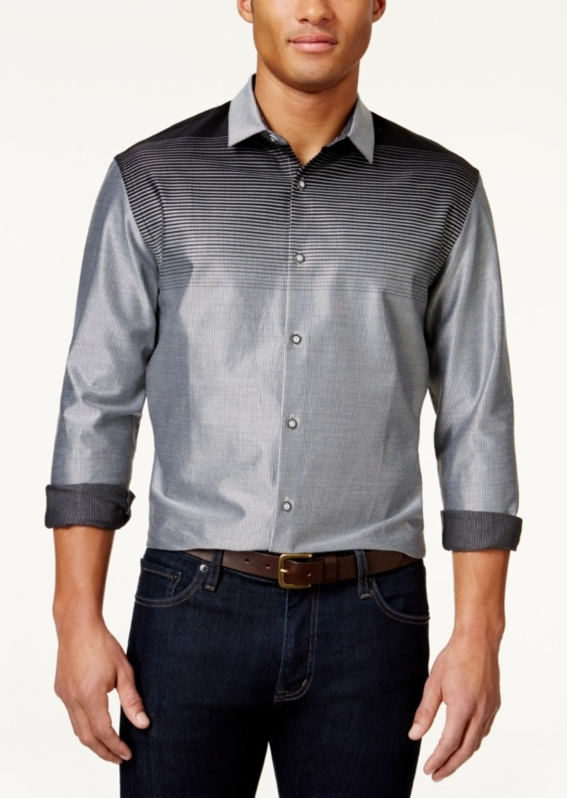 Alfani Men's Ombre Striped Long-Sleeve Shirt, Created for Macy's