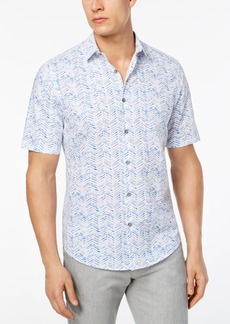 Alfani Men's Painted Herringbone Print Shirt, Created for Macy's