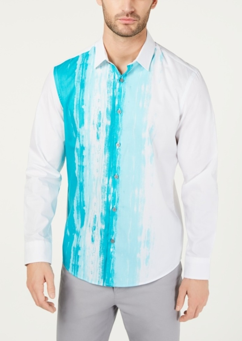 Alfani Men's Stretch Painted Panel Shirt, Created for Macy's