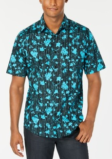 Alfani Men's Painterly Floral Stripe-Print Shirt, Created for Macy's