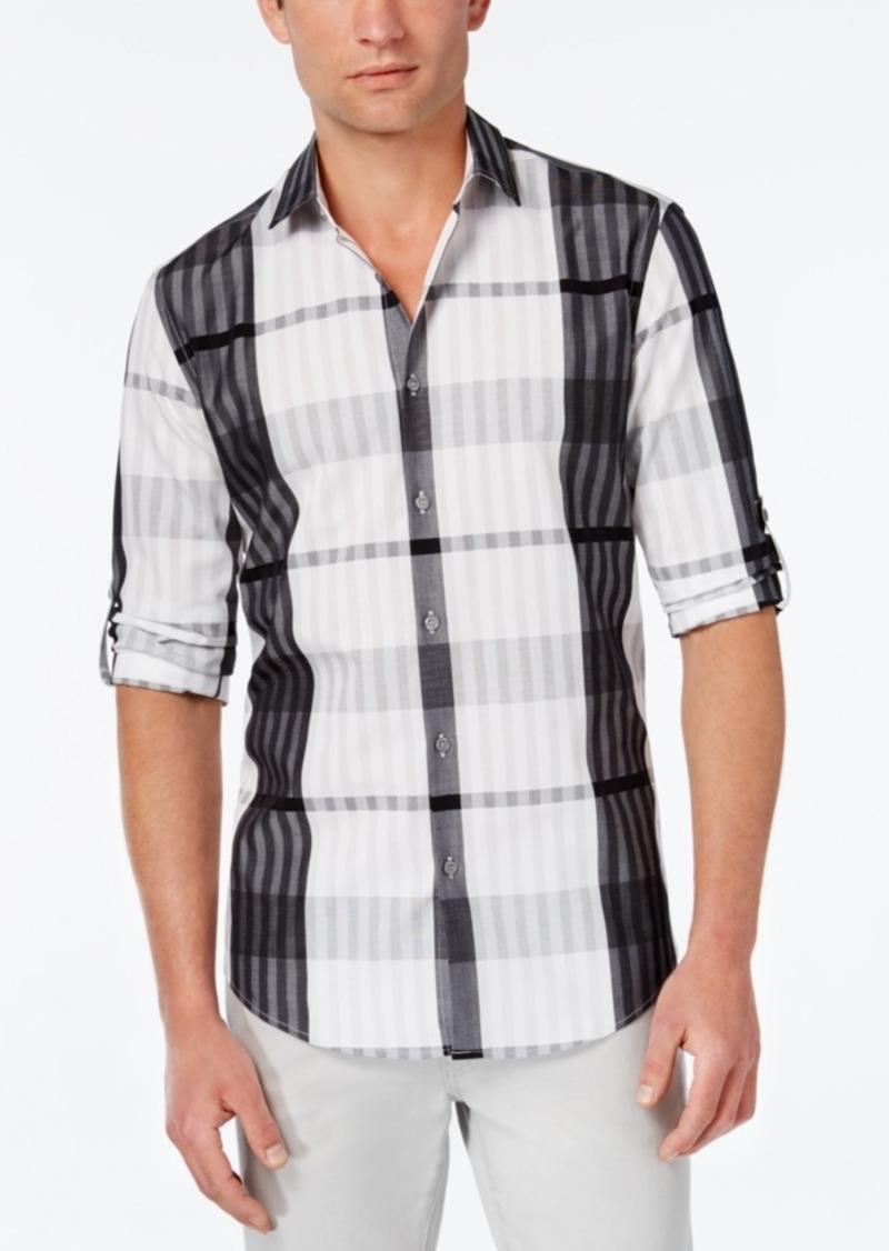 Alfani Men's Big and Tall Plaid Long-Sleeve Shirt, Classic Fit