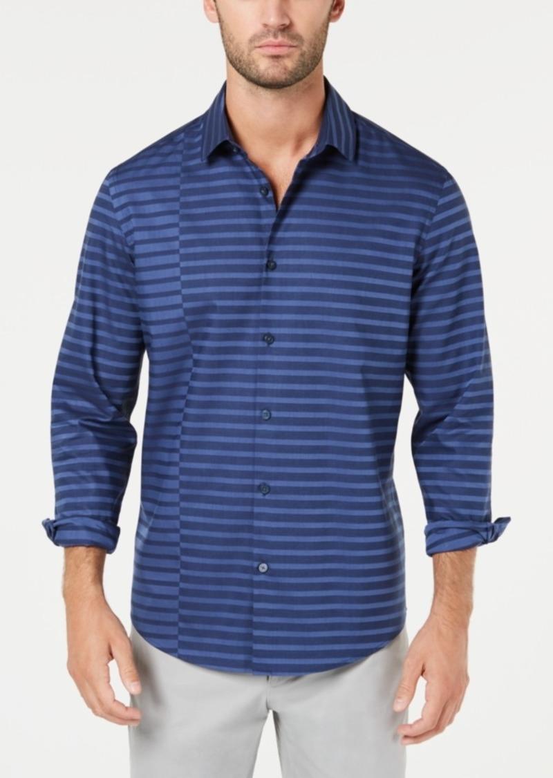 Alfani Men's Pieced Stripe Twill Shirt, Created for Macy's