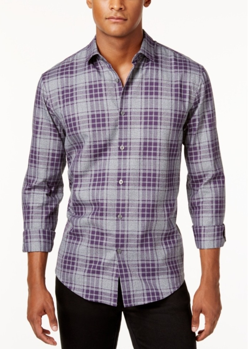 Alfani Men's Plaid Long-Sleeve Shirt, Classic Fit