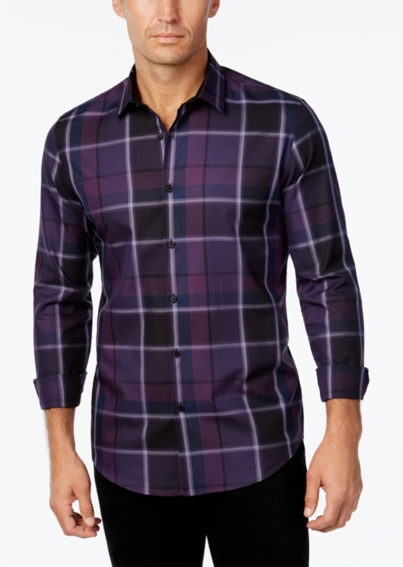 Alfani Men's Big and Tall Plaid Long-Sleeve Shirt, Slim Fit