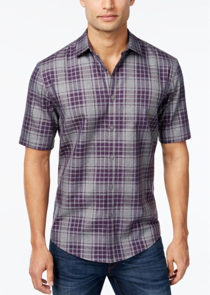 Alfani Men's Plaid Short-Sleeve Shirt