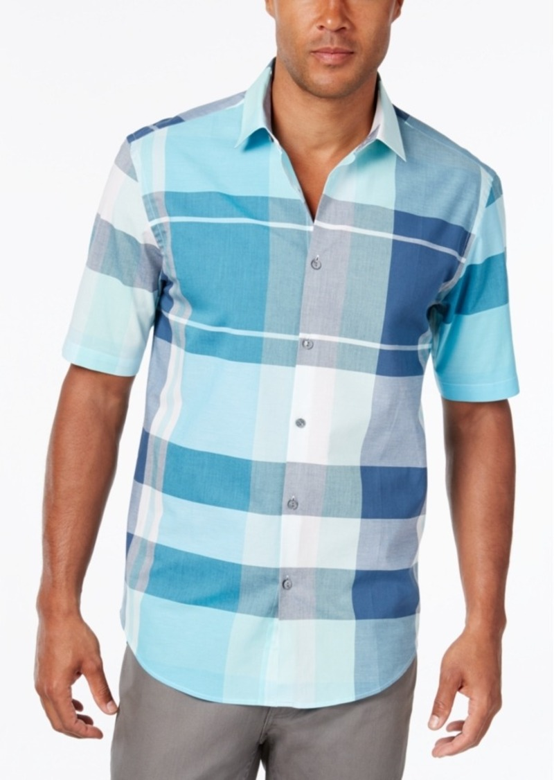 Alfani Men's Big and Tall Plaid Short-Sleeve Shirt, Classic Fit