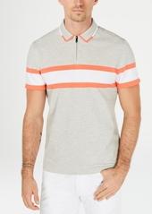 Alfani Men's Regular-Fit Stripe Quarter-Zip Polo, Created for Macy's