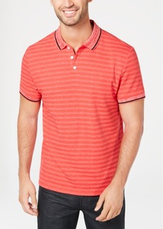Alfani Men's Regular-Fit Tipped Heather Stripe Polo, Created for Macy's