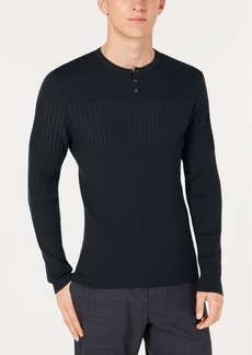 Alfani Men's Ribbed Blocked Henley Sweater, Created for Macy's