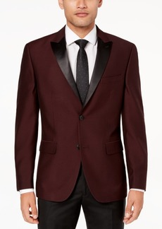 Closeout! Alfani Men's Slim-Fit Burgundy Mini-Grid Dinner Jacket, Created for Macy's