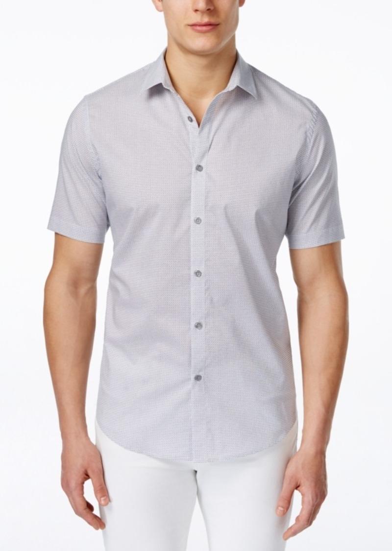 Alfani Men's Slim-Fit Dash-Print Short-Sleeve Shirt, Only at Macy's