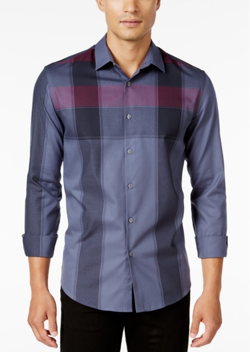 Alfani Men's Slim Fit Long-Sleeve Plaid Shirt, Only at Macy's