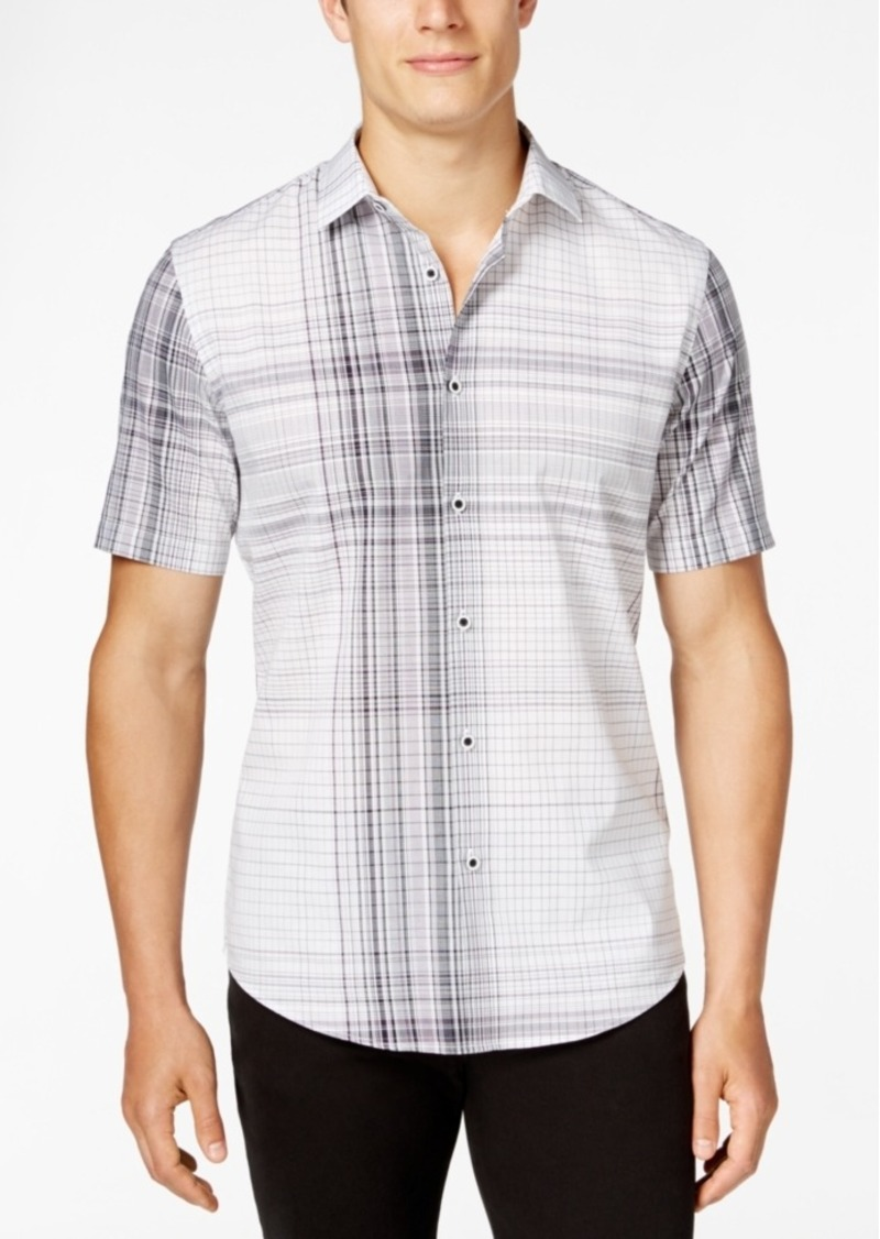 Alfani Men's Slim-Fit Modern Plaid Short-Sleeve Shirt
