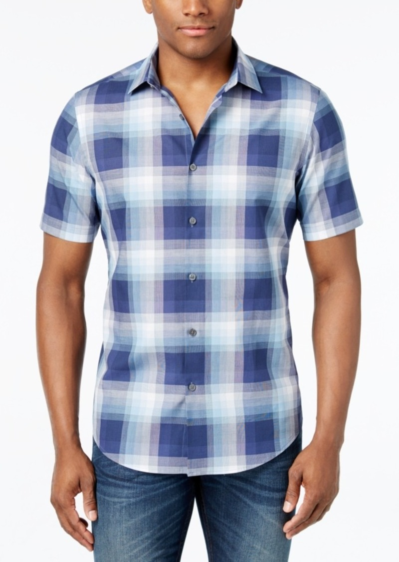 Alfani Men's Slim Fit Ombre Plaid Soft Cotton Short-Sleeve Shirt