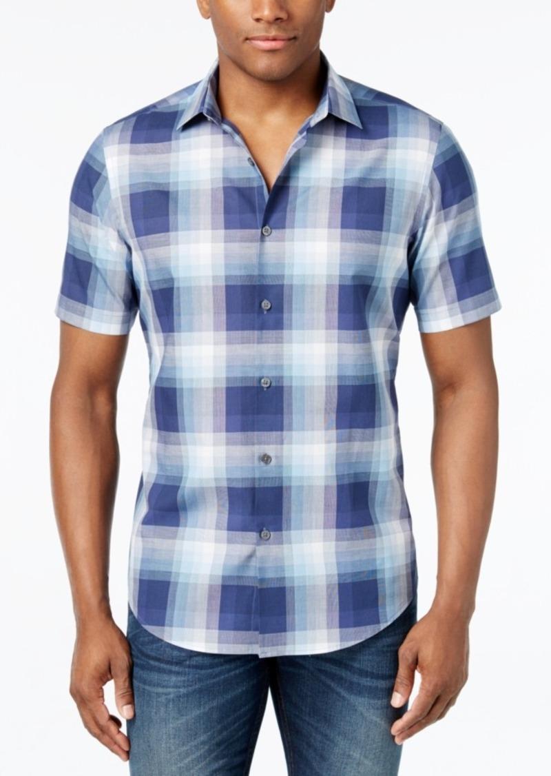Alfani Men's Big and Tall Slim Fit Ombre Plaid Soft Cotton Short-Sleeve Shirt