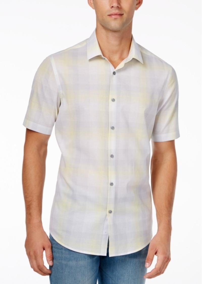Alfani Men's Slim Fit Plaid Short-Sleeve Shirt, Only at Macy's
