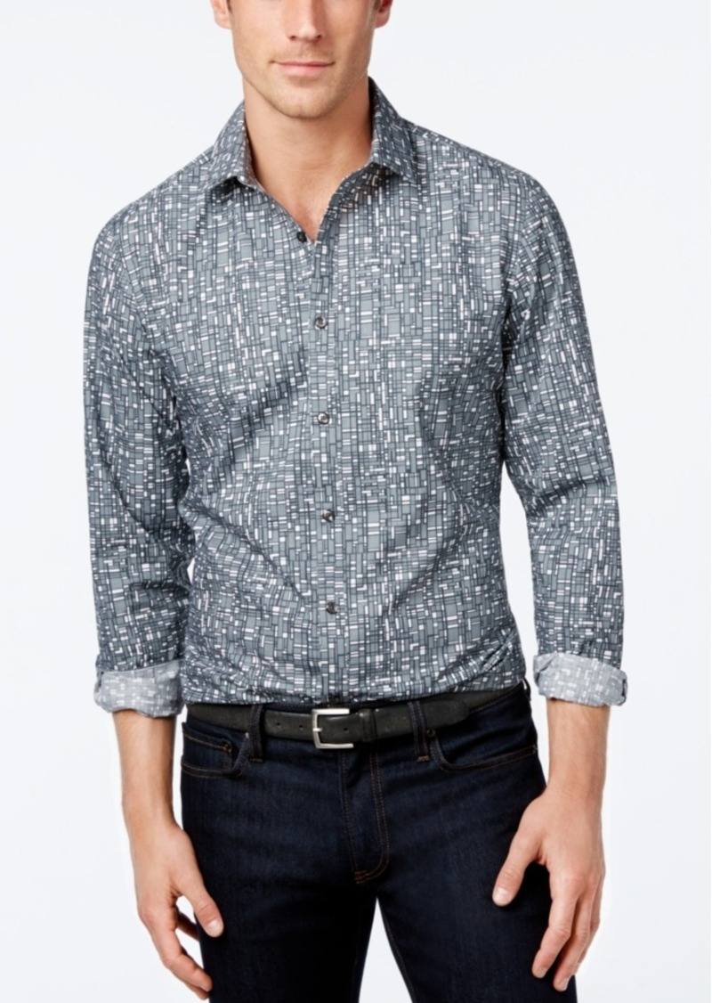 Alfani Men's Slim-Fit Printed Long-Sleeve Shirt