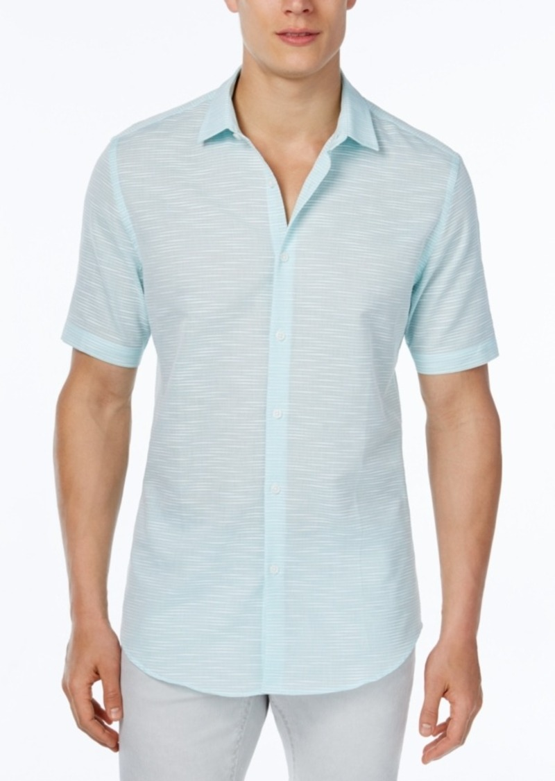 Alfani Men's Big and Tall Slim-Fit Striped Short-Sleeve Shirt, Only at Macy's