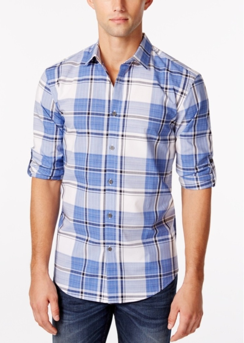Alfani Men's Big & Tall Slim-Fit Cordoba Plaid Shirt, Only at Macy's