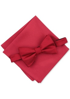 Alfani Men's Solid Textured Pre-Tied Bow Tie & Solid Textured Pocket Square Set, Created for Macy's