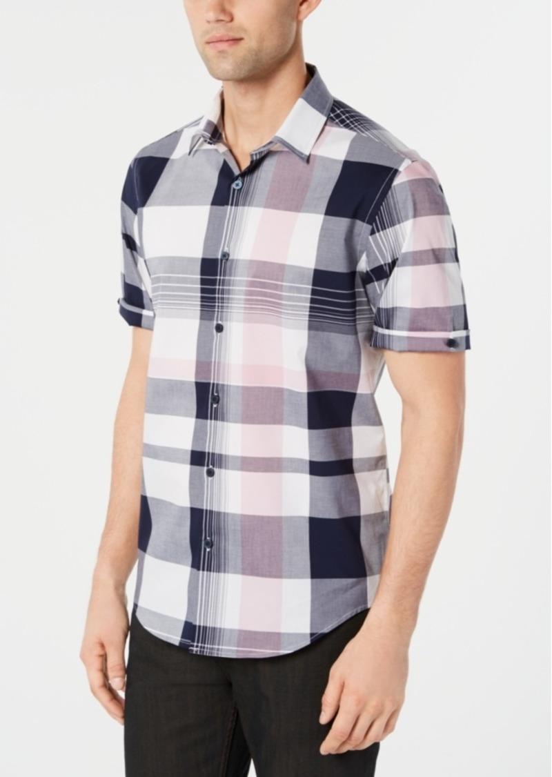 Alfani Men's Stretch Regular-Fit Plaid Shirt, Created for Macy's