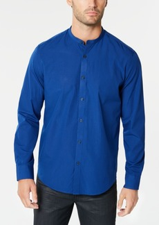 Alfani Men's Stripe Band-Collar Shirt, Created for Macy's