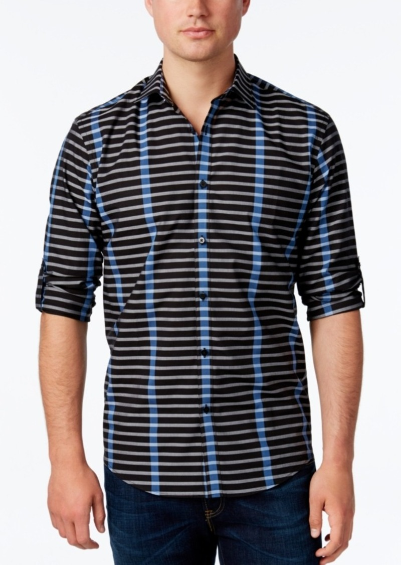 Alfani Men's Stripe Long-Sleeve Shirt, Classic Fit, Only at Macy's