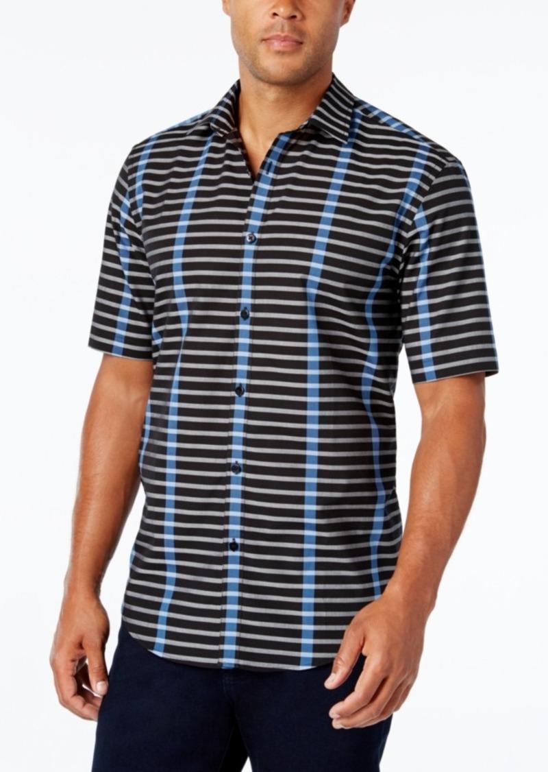 Alfani Men's Big and Tall Stripe Short-Sleeve Shirt, Slim Fit