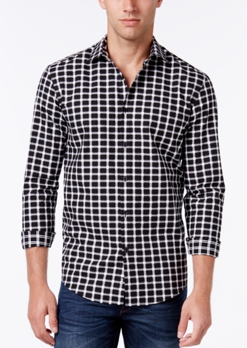 Alfani Men's Textured Check Long-Sleeve Shirt, Classic Fit