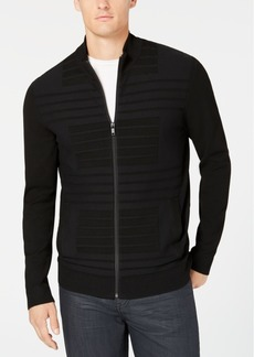Alfani Men's Textured Stripe Full-Zip Sweater, Created for Macy's