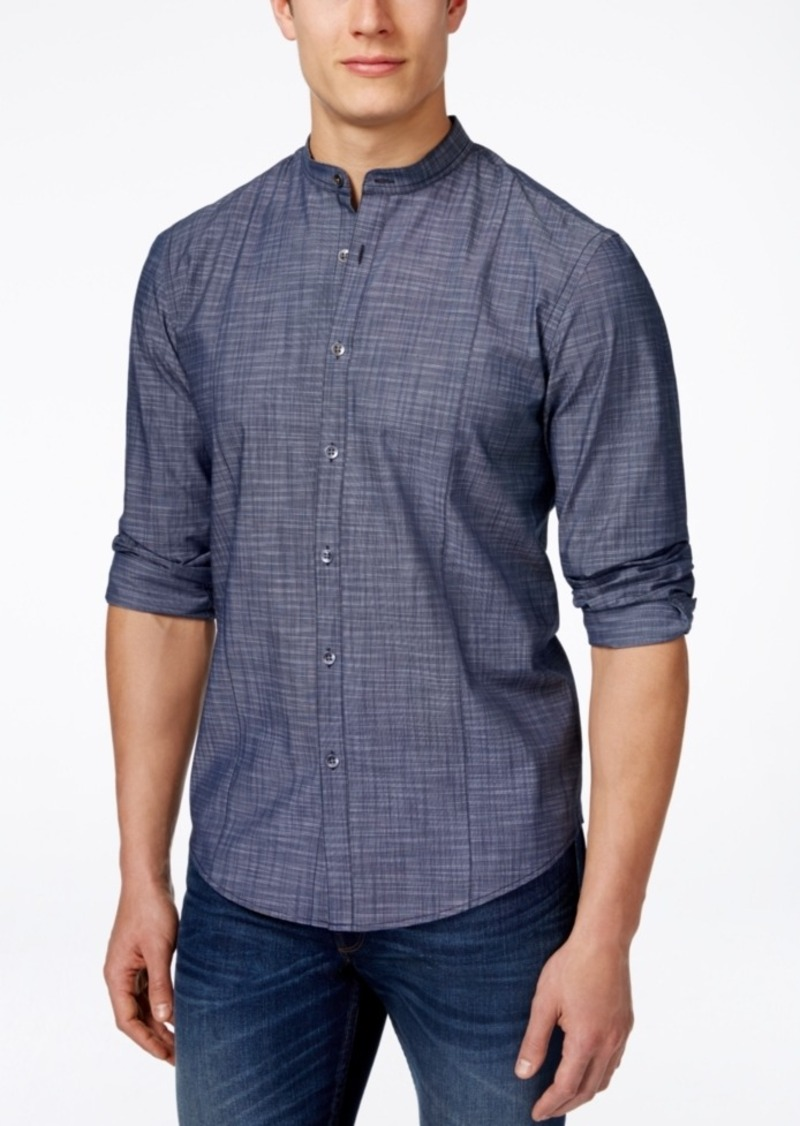 Alfani Men's Warren Banded-Collar Long-Sleeve Shirt, Classic Fit, Only at Macy's
