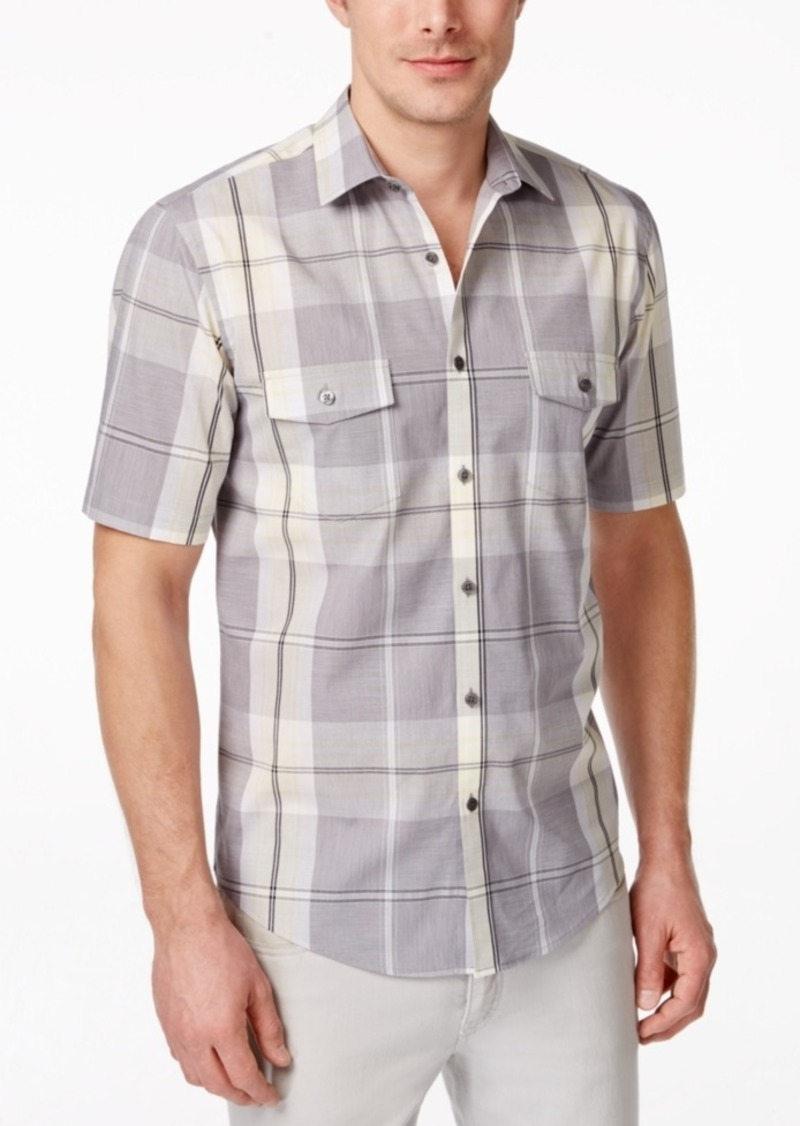 Alfani Men's Big and Tall Plaid Short-Sleeve Shirt, Only at Macy's