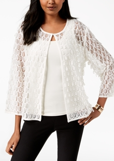 Alfani Mesh Applique 3/4-Sleeve Jacket, Created for Macy's